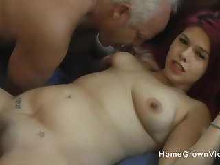 Thick redhead amateur fucked by duo hung old men