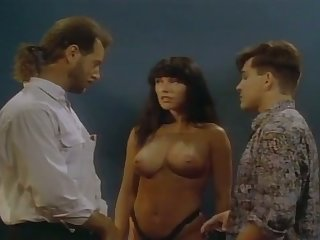 Torrid curly vintage whore is on the very point of work on two dicks on request