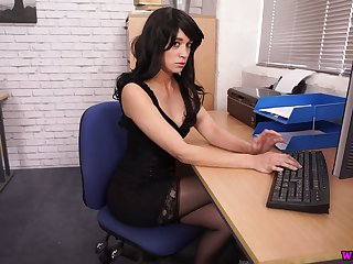 Raven haired office clerk Tracy Rose flashes tits added to wanks a fake cock