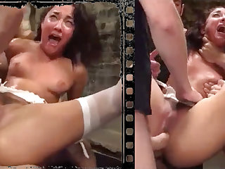 Stained stunner plowed xxx nearly five immense penises!