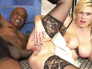pierced milf ass fucked by a pitch-black monster cock