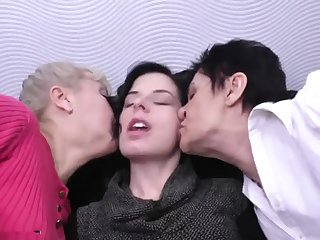 Granny mature together with daughter lesbians