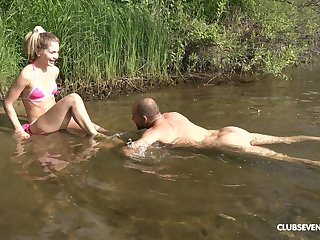 Simmering blonde Mary Rock adores rough sex and a blowjob wide of the river