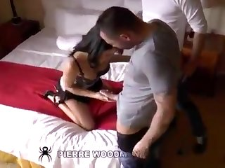 A brutal double penetrations with a sizzling 18yo darkhaired babe