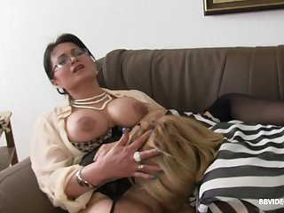 Two mature German sluts pleasure one younger stud with a BJ