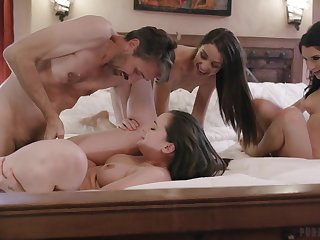 Lively hotties Gia Paige, Avi Be in love with and Silvia Saige share a pencil