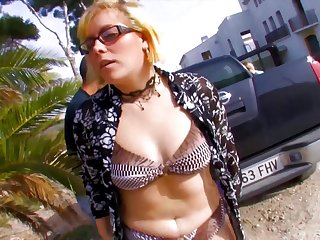 Amateur video with mature blonde slut Dickxy having anal coitus