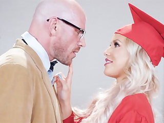 Gorgeous graduate gets power-fucked by the brush professor