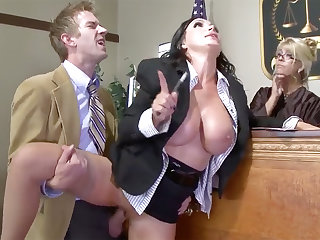 Busty defender beauty gets her pussy plowed in square
